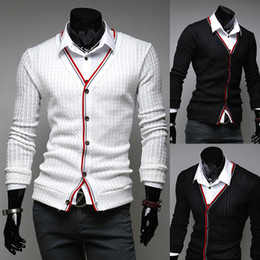 Wholesale Mens Shirts Cardigan - Mens Stylish Cardigan Sweater Knit Wear Casual Slim Knitting Shirts Black White