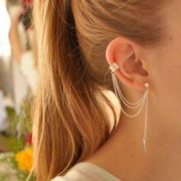 Wholesale Chain Earring Cuffs Wraps - Wholesale-Brand New Women 2pcs Stylish Punk Rock Leaf Chain Tassel Dangle Ear Cuff Wrap Earring plated silver golden earrings