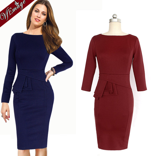 New Womens Summer Elegant Cotton Tunic Frill Stretch Wear To Work Office Career Business Party Shift Pencil Sheath Dress 726