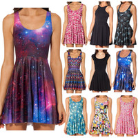 Wholesale china women xl dress - New 2015 Women Galaxy Dress Black Milk Dress Galaxy Purple Reversible Skater Dress Print Dresses Plus Size China Air Express