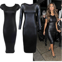 Wholesale Leather Dresses Wholesale - High Quality Women Casual Leather Bodycon Dress Bandage Dress Vestidos Sexy Black PU Leather Bodycon Dress
