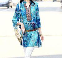 Wholesale Pink Floral Chiffon Shirt - summer style dress 2015 lady bohemian indian floral pluz size big women chiffon blouse shirt M L XL XXL XXXL XXXXL 5XL Pink Blue