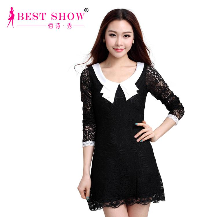 8ab16bcb2 Vestidos Casual 2015 Fashion Peter Pan Collar Long Sleeve Black White Lace  Dresses Women Plus Size Dress 1189 Evening Wear Dresses Cute Cocktail  Dresses ...
