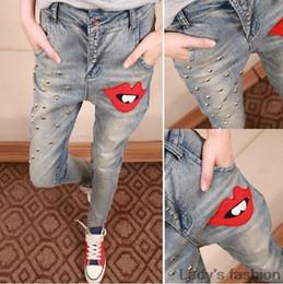 Wholesale Size Xs Pants For Women - 2015 new design rivet harem jeans women red lip pencil pants for female personality vintage jeans pants size XS-XXL