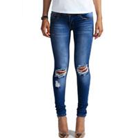 weibliches bleichmittel großhandel-1884 neue 2015 Hot Fashion Damen Baumwolle Denim Hosen Stretch Damen Bleach Zerrissene Knie Skinny Jeans Denim Jeans Für Weibliche