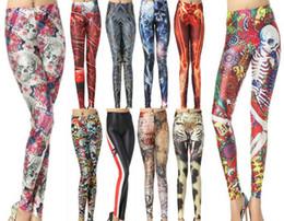 Wholesale Hot Skull Print Legging - Hot New 2015 Fashion Women's Pirate Leggins Colorful Floral Skull & Animal Leopard Graffiti Digital Print Pants Costume LEGGING