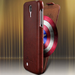 Wholesale Galaxy S4 Flip Cover Logo - Wholesale-Luxury Retro PU Leather Crazy Horse Full Case For Samsung Galaxy S4 S IV i9500 Flip Cover Open Up And Down Fashion LOGO Case