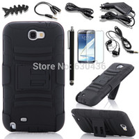 Wholesale Note Ii Cases Clip - Wholesale-Black Rugged Case & Belt Clip Holster Stand For Samsung Galaxy Note 2 II N7100