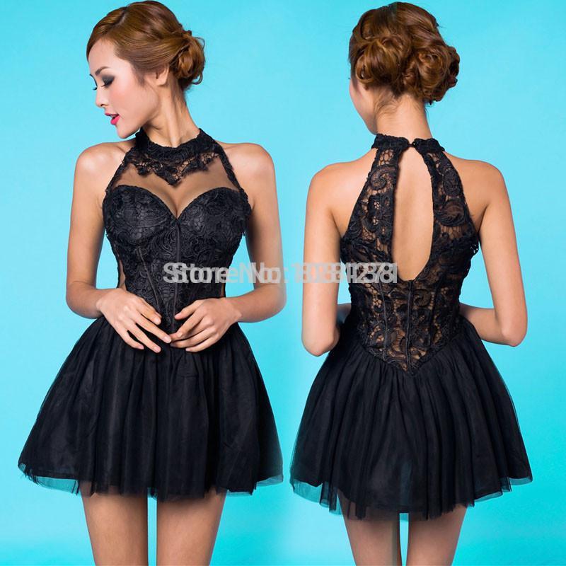 2015 Cute Sweet 16 Dresses Black Lace A Line Appliques Corest Short