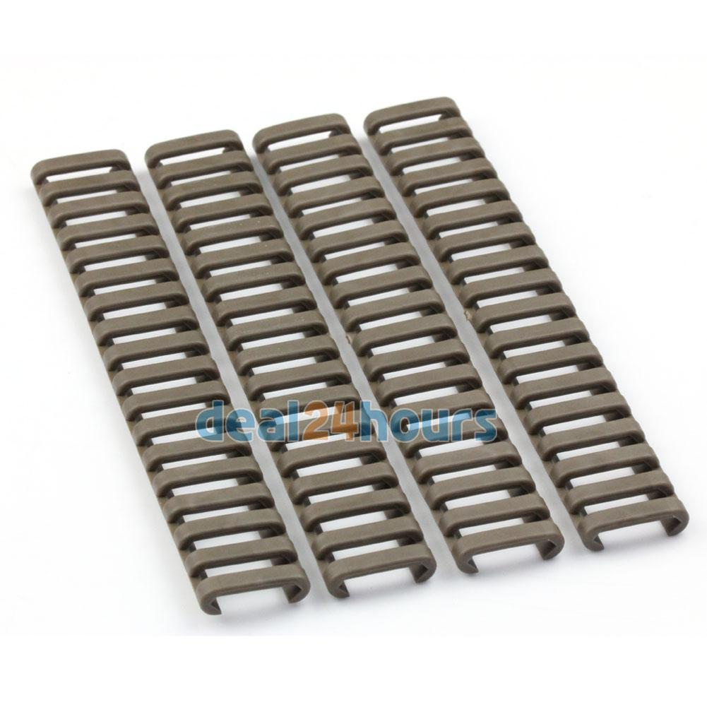 Pack Of 4 Rail Ladder Cover Fire Resistent 7 Weaver/picatinny Tan New In Many Styles Camping & Hiking