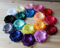 Wholesale Singed Flowers - Burned Flower 3.3 Inch baby satin singed flower fabric flower for headband accessories