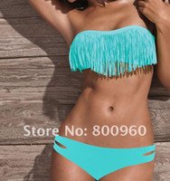 Freies Verschiffen, 7colors Sexy Girl Lady Padded Boho Fringe Top Strapless Dolly Bikini-Badebekleidung in S / M / L