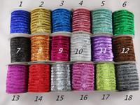 "Wholesale Glitter Hair Ties - 5 8"" 15mm Glitter Elastic Solid Glitter FOE Elastic DIY Headbands Hair Ties Hairband 20Yards lot Free Shipping"
