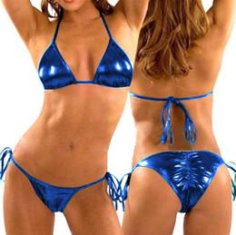 Wholesale Metallic Silver Bikinis - Sexy Hot Erotic Metallic Bikini Set Stripper Wear Beach Wear Women Swimwear Bathing Suit Brazilian Bikinis