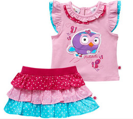 Wholesale Hoot Girls - Brand new Free shipping children kids Giggle and Hoot short sleeved Tshirt + cake skirt sets suits