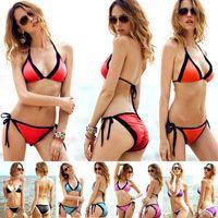 Wholesale Wholesale Fashion Bikinis - Wholesale-2015 New Lace Bikini Fashion Beach Wear Swimwear & Swimsuit Black Lace Bathing Suit Sexy Split Bra with T Back Sets