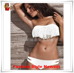 Wholesale Tassel Swimsuit Cheap - Wholesale-Sexy Fringe Tassel Boho Bikini For Woman, Bath Ladies Swimsuit Strapless Bikini Swimwear Hot Sale Cheap Free Shipping Promotion
