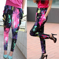 Wholesale Galaxy Harem Pant - New Ladies Printed Decals Baggy Harem Pants Women Trousers Trendy Galaxy Graffiti Fluorescent