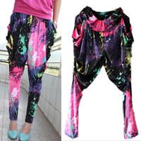 Wholesale Galaxy Harem Pant - New Ladies Printed Decals Baggy Harem Pants Women Trousers Trendy Galaxy Graffiti Fluorescent