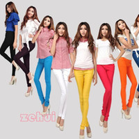 Wholesale Korean Boots Free Shipping - Korean Womens Pencil Leggings Solid Multicolor Pants Skinny Stretch Trouser New Free Shipping