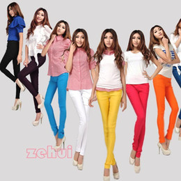 Wholesale Leggings Multicolor Wholesale - Korean Womens Pencil Leggings Solid Multicolor Pants Skinny Stretch Trouser New Free Shipping