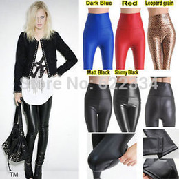 Wholesale Tight Hot Low Cut - Palicy K59 2015 Women Hot Matt Look Streth High Waist Faux Leather Pants Tights Free Shipping Women Pantyhose With Good Quality