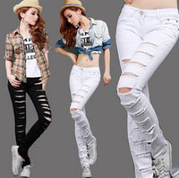 Wholesale White Cut Out Jeans - 2015 Hot Fashion Ladies Female Cotton Denim Ripped Punk Cut-out Women Black   White Sexy Skinny pants Jeans Trousers WJ86