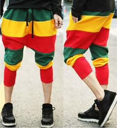 Wholesale Sport Hip Hop Pants Woman - New Jamaican Reggae Harem Hip Hop Dance Pants Sweatpants striped Costumes Green Yellow Red Panelled female sports trousers