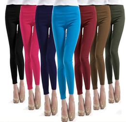 Wholesale Sexy Pencil Pant Boots - 2015 Hot Sale Ladies Womens Girls Fashion Slim Sexy Solid European And American Style Pencil Pants Candy Colors Stretch Pants