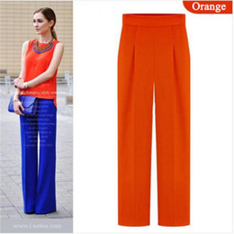 Wholesale Wide Leg Chiffon Pants - New Fashion Chiffon Waist Wide Leg Pants Street Trousers Casual Women Pants Black Blue Orange OL Long Pants 658727
