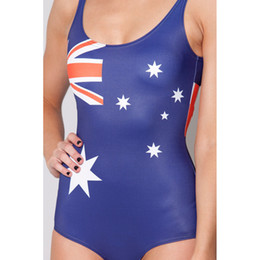 Wholesale New Spring Black Milk Brand Sexy One Piece Swimsuit World Flags Australia Women Swimwear Bathing Suit High Waist Swimsuit