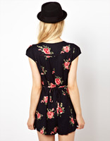 Wholesale Black Jumpsuit Boot Cut - Vintage rose print cutout V-neck back strip slim waist lacing haoduoyi jumpsuit black 2015 new fashion beautiful dress summer