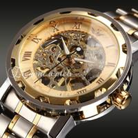 Wholesale Heart Rate Monitor Brands - Transparent Gold Watch Men Designer Men Watches Top Brand Luxury Male Clock Men Casual Watch Mechanical Skeleton Watch