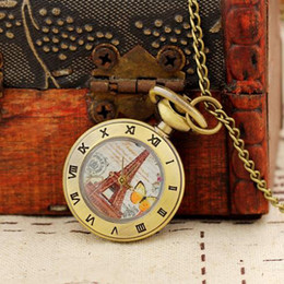 Wholesale Eiffel Tower Pocket Watch Necklace - Free Shipping Fashion Women Mini Gifts Pocket Watch Eiffel Tower Necklace Pendant Wholesale Dropship Best Price