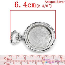 Wholesale Antique Pocket Watch Set - Charm Pendants Pocket Watch Antique Silver Cabochon Setting (Fits 33mm Dia) 6.4x4.5cm,2PCs (B26856)8seasons