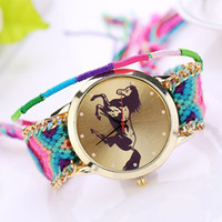 Wholesale Horse Watches Digital - New fashion women watch Bracelet Watch GENEVA Watch Ladies Quarzt Watches Handmade Braided dial horse gold fashion XR901