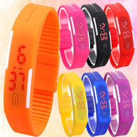 Wholesale Pin Up Kids Wholesale - Hot Sale Electronic Led Digital Jelly watches Casual Quartz Wristwatch For Men Women Kids Rectangle Dial Bracelet Style Watch