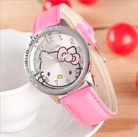 Wholesale Watch Calendar Kid - New Hot Sale Low Price Fashion Girls Cute Cartoon Watch Hello Kitty Watches Women Children Kids Quartz Watch