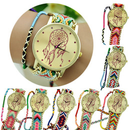 Wholesale Round Friendship Bracelets -  Newest Hot Girls Bracelet Watch Women Dream Catcher Friendship Women Braid Watches