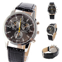 Wholesale Fine Leather Belts - Free shipping Men Unisex Artificial Leather Fine Wrist Watch Steel Sport Analog Quartz Watches