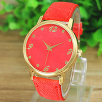 Wholesale Denim 1pc - Superb! NEW Cheap 1PC Fashion Women Men Denim Cloth Strap Bracelet Wrist Watch Unisex Analog Quartz Watches Freeshipping
