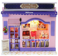 Wholesale Miniatures Diy - HOT Selling Diy Toys Wooden Dollhouse Miniatures Queen Shop Kits Cute Handwork Educational Blocks Christmas Gift For Kids