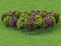 Wholesale Ho Model Train Wholesalers - New 2015 Brand New 30pcs Mixed 3 colors Flower Model Train HO Trees Ball Shaped Scenery Landscape 1 87 Scale Free Shipping