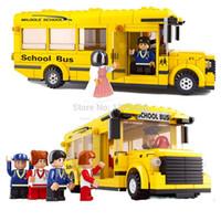 Wholesale School Bus Building Toys - Simple box Sluban M38-B0333 School Bus Building Blocks house bricks diy Enlighten campus toys minifures for children Montessori