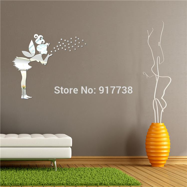 Hot Model Fairy Blow Stars Mirror Wall Stickers Acrylic Mirror Kids Wall  Stickers Decorative Mirrors Wall Decal Large Mirrors For Bathroom Large  Mirrors For ...