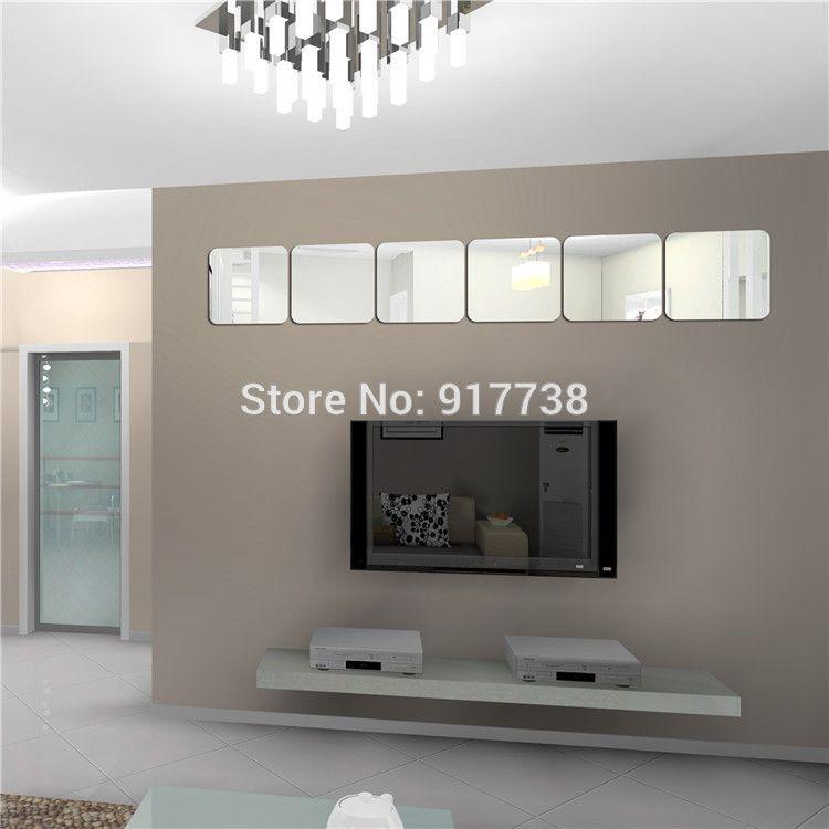 160160mm Square Mirror Decorative Wall Sticker Bedroom Decor 3d
