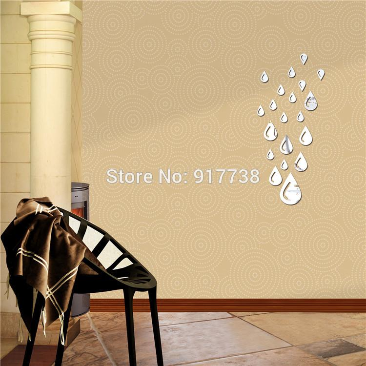 Rainy Drops Wall Mirror 3d Sticker Bathroom Decorative Acrylic Paper Home Decor New Arrival Large For On Stand