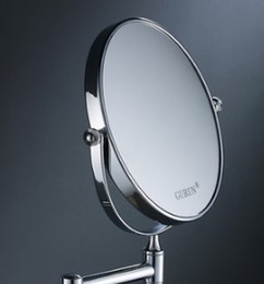 6 Double Side Bathroom Folding Brass Shave Makeup Mirror Chromed Wall Mounted Extend With Arm Round Base 3x Magnifying