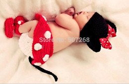Wholesale Crochet Animal Hats For Sale - Free Shipping Hot Sale 2015 Photo Prop Knit Crochet Toddler Baby Kids Costume MINI Mouse Hat Cap With Shoes for bady - B61