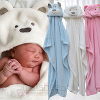 Wholesale Receiving Fleece Blankets - Caters wrap newborn baby receiving blanket soft coral fleece animal hooded bathrobe baby bath towel photography props blanket